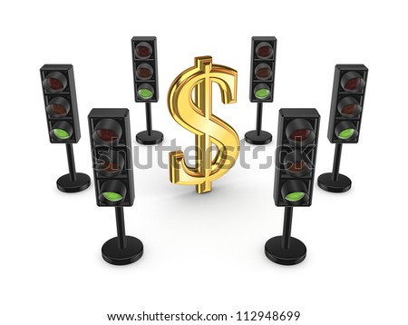 Traffic lights around dollar sign.Isolated on white background.3d rendered. - stock photo