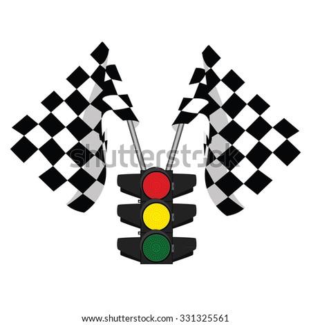 Traffic lights, finish flag, start flag, racing flag - stock photo
