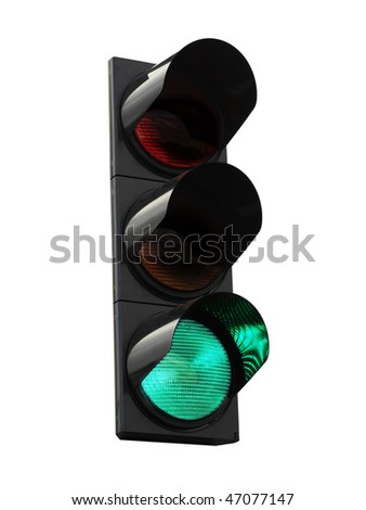 traffic lights - green - stock photo