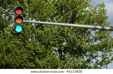 Traffic lights - green light is on (against lovely tree greenery) - stock photo