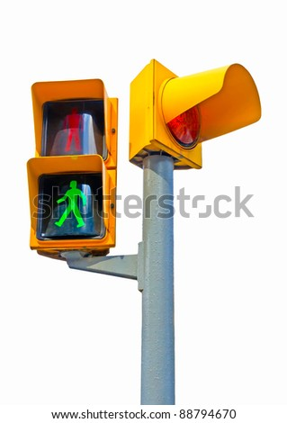 Traffic lights in Barcelona Spain - stock photo
