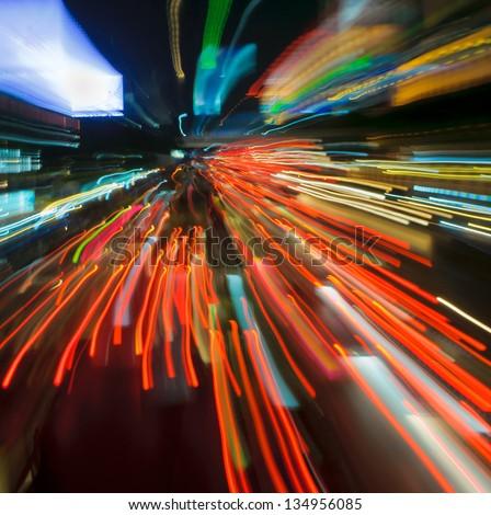 traffic lights in motion blur - stock photo