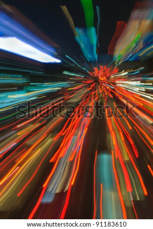 traffic lights in motion blur