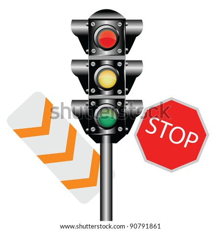 Traffic Lights Isolated - stock photo