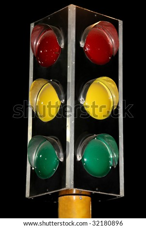 Traffic lights on black background - stock photo
