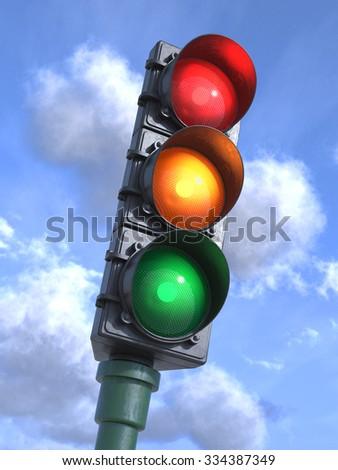 Traffic lights on crossroads, sky background 3d - stock photo