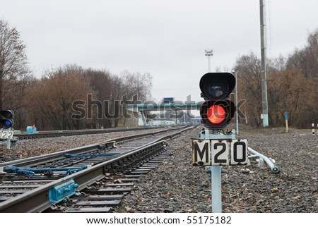 Traffic lights on railway - stock photo