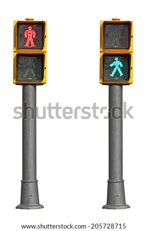 Traffic lights on white background - stock photo