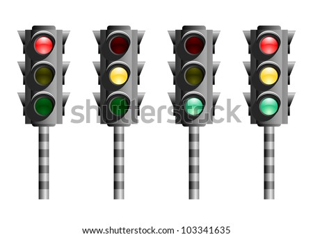 Traffic lights or stop lights (Road Signal) with red, yellow and green lights on white background. Stylized icons. - stock photo