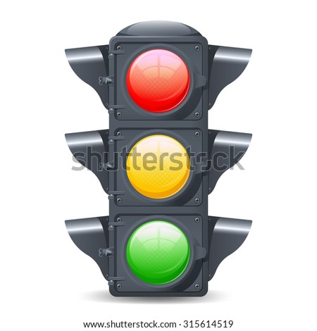 Traffic lights realistic isolated object on white background  illustration