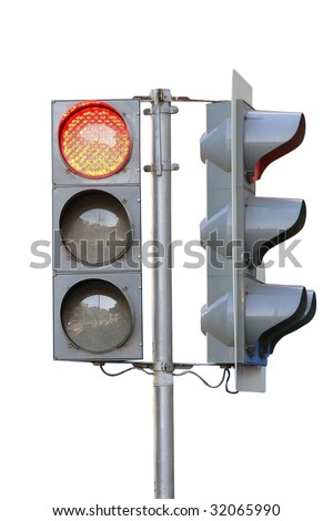 traffic lights under the white background - stock photo