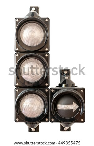Traffic lights with arrow, no light isolated on white background