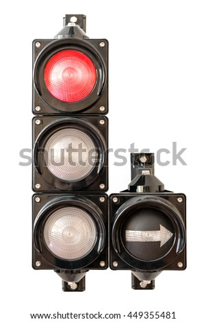 Traffic lights with arrow, red light isolated on white background