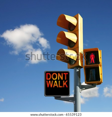 Traffic Lights with Don't Walk and Red Man - stock photo