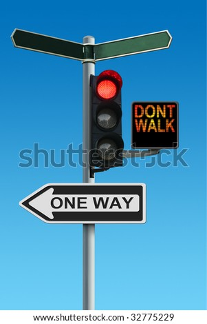 Traffic Lights with Dont Walk and One Way Signs - stock photo
