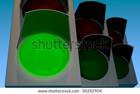 traffic lights with green lamp glowing - stock photo