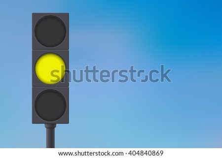 Traffic lights with yellow light on.   illustration on sky background. Raster version