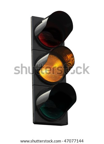 traffic lights - yellow - stock photo