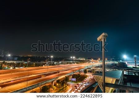 Traffic monitoring CCTV. - stock photo