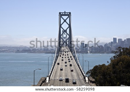 Traffic moves freely across the Bay Bridge to San Francisco. - stock photo