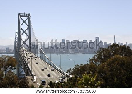 Traffic moves freely across the Bay Bridge towards San Francisco. - stock photo