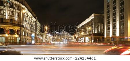 Traffic of cars in Moscow city center (Tverskaya Street near the Kremlin), Russia      - stock photo