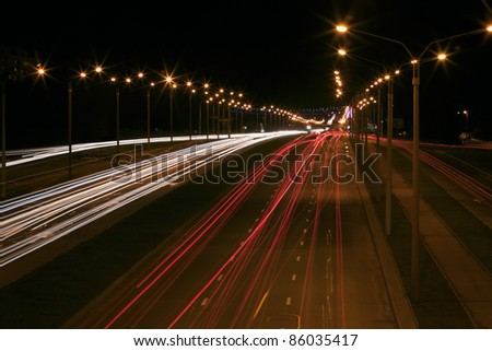 Traffic on a street at night