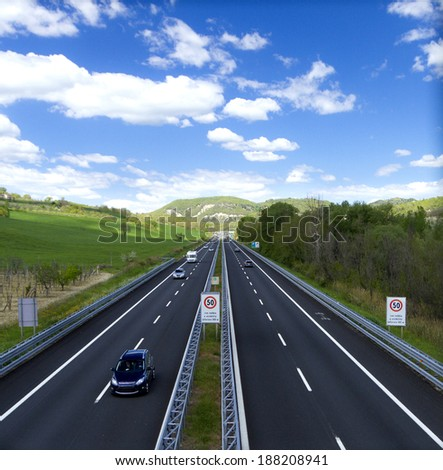 traffic on highway - stock photo