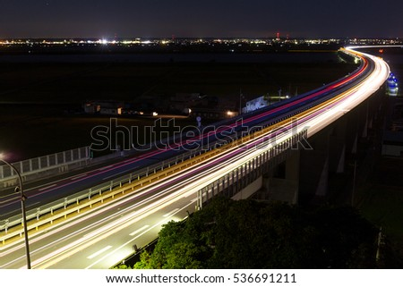 Traffic on highway at night