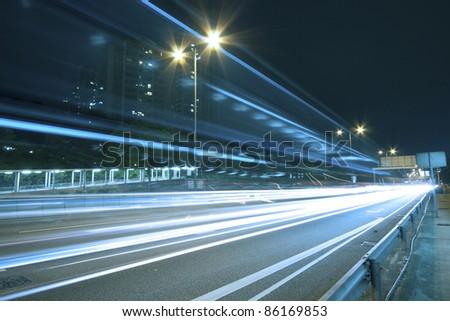 Traffic on highway of Hong Kong at night - stock photo