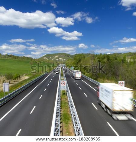 traffic on highway, truck - stock photo