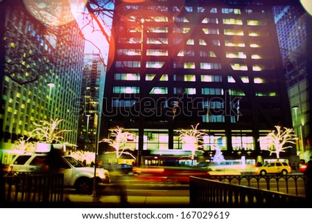 Traffic on Michigan avenue in Chicago at night. - stock photo