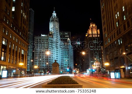 Traffic on Michigan avenue in Chicago at night.