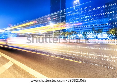 traffic on road and buildings in beijing - stock photo