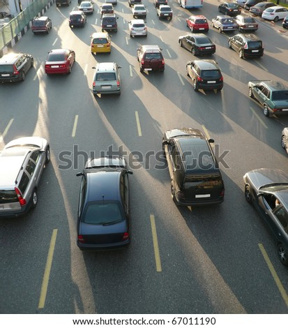 traffic on street repair at day - stock photo