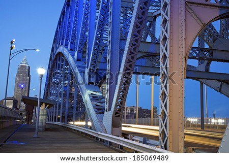 Traffic on the bridge in Cleveland, Ohio. - stock photo