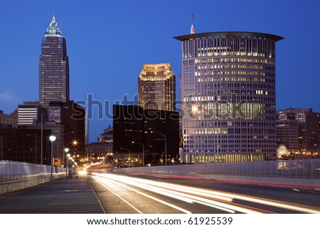 Traffic on the bridge  in downtown Cleveland, Ohio. - stock photo