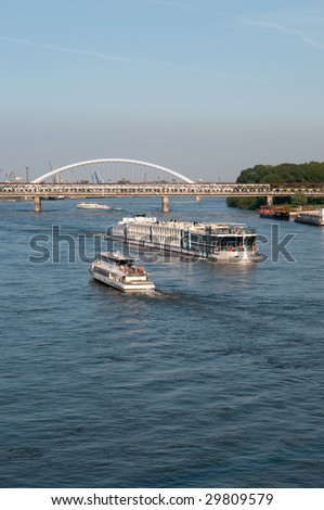 traffic on the Danube river in Bratislava, Slovakia - stock photo