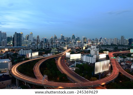 Traffic on the elevated highway in Thailand. - stock photo