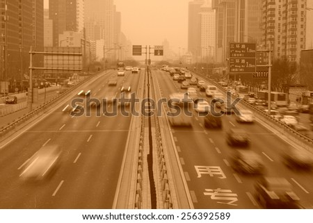 traffic on the highway, Beijing, China.