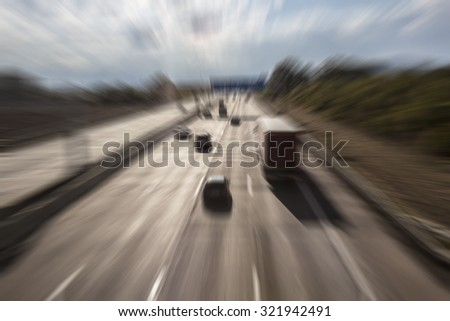traffic on the highway,busy  traffic on highway ,traveling background - stock photo
