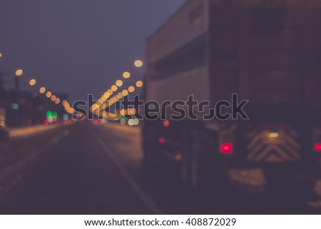 Traffic on the highway nighttime . blurred image background. concept about transportation - stock photo