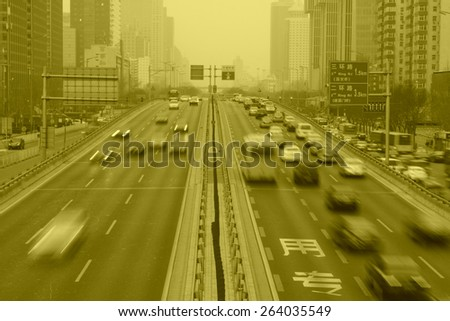 traffic on the highway on January 17, 2014, Beijing, China.