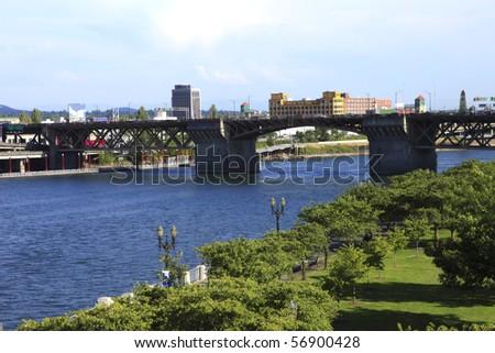 Traffic on the Morrison bridge, Portland OR. - stock photo