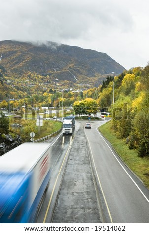 Traffic on the road between Bergen and Oslo in Norway
