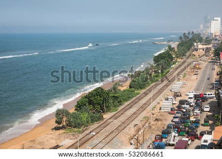 Traffic on the southern main road into Colombo - Sri Lanka