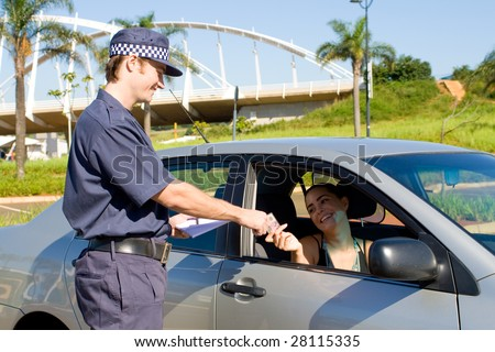 traffic police checking driver's license - stock photo