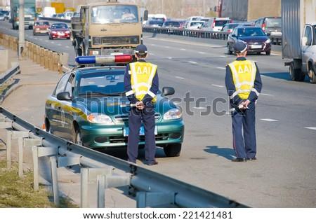 Traffic Police in Ukraine - stock photo