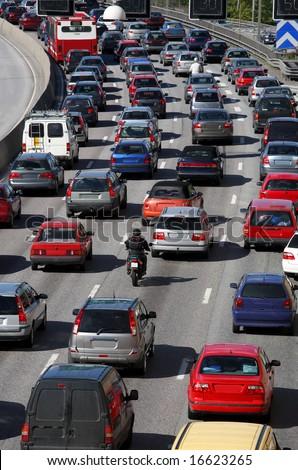 Traffic queue - stock photo