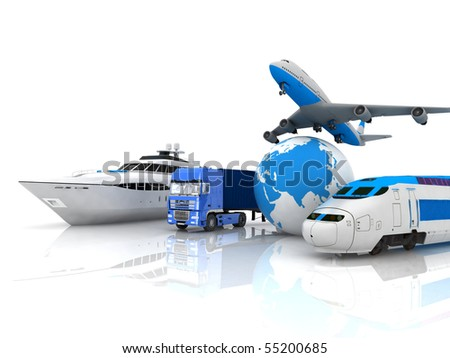 traffic resources with a globe - stock photo